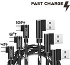 3 Pack USB-C Cable L Shape 90° Right Angle Type-C Fast Charger Cord 4ft 6ft 10ft