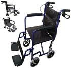 Blue Deluxe Lightweight Folding Travel Transfer Transit Wheelchair with Footrest