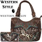 Western Horse Handbag Concealed Carry Purse Women Country Shoulder Bag Wallet image