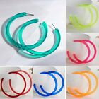 Women Exaggeration Acrylic Big Hoop Dangle Earrings Resin Round Circle Jewelry