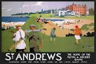 St Andrews Travel Advert Vintage Retro style Metal Sign Plaque, golfing, holiday