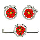 Red Rose of Lancaster Cufflink and Tie Bar / Clip Set