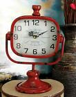 /Urban Designs RETRO Rustic Metal Table Clock - Fire Engine Red or Aquamarine