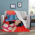 Ultra-Soft Micro Fleece Custom Lilo and Stitch Bed Throw Blanket image