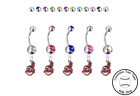 Cleveland Indians Silver Belly Button Navel Ring - Customize Gem Color - NEW on Ebay