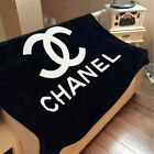 NEW AUTHENTIC Small or Large Chanel CC Logo Black Fleece Blanket Throw Vip Gift  image