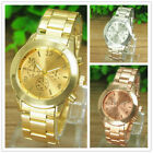 Luxury Crystal Womens Mens Watch Stainless Steel Band Quartz Wrist Watch Cheap image