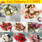 13 Heads Silk Peony Artificial Flowers Bunch Bouquet Home Wedding Garden Decor
