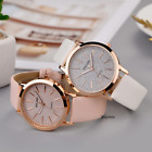 Glitter Sparkling Women's Wrist Watch Rose Gold Leather Bracelet Ladies Gift Box
