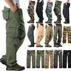 Men Cargo Pocket Work Wear Pant Military Army Casual Loose Canvas Combat Trouser