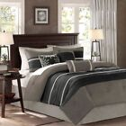 Modern 7pc Deep Black & Silver Microsuede Comforter Set AND Decorative Pillows image