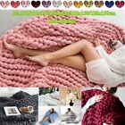 Large Warm Knitted Blanket Soft Wool Thick Line Yarn Handmade Throws Bed Sofa image