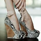 Fashion Womens Snake Pattern Wedge Super High Heels Peep Toe Strappy Pumps Shoes