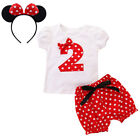 Mickey Mouse T-shirt with Shorts Headband 1st 2nd Birthday Outfits for Baby Girl