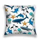 Polyester Cushion Cover Wildlife sea Animals Birds Big Reef Sharks Pillow Case