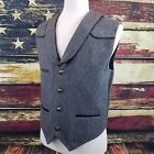 Wyoming Traders Mens Marshall Wool Western Cowboy Vest - CHARCOAL