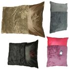 Genuine Fleece Fur Dog Bed Pillows Washable Zipped Leather Accent Floor Cushions