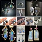 Vintage Turquoise 925 Silver Ear Hook Stud Dangle Drop Earrings Moonstone Women