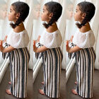 USA Kids Toddler Baby Girls Off Shoulder Tops+Pants Leggings Outfits Set Clothes