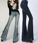 Fashion Women's Denim Jeans Side Strappy Long Pants Skinny Slim Flare Trouser