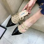 Pointy Studs Mules Rivets Flats Sandals Plus Size Slippers Black Women Shoes