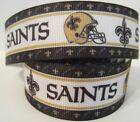 "GROSGRAIN NEW ORLEANS SAINTS FOOTBALL 1"" INCH RIBBON FOR HAIR BOWS DIY CRAFTS $8.99 USD on eBay"