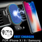 Gravity Car Air Vent Phone Fast Charger Wireless Holder Stand For IPhone Samsung