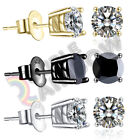 925 Sterling Silver Stud Earrings Men Women 3,4,5,6,7,8,10mm Diamond Round#213