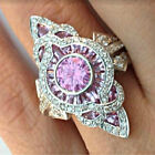 Popular 925 Sliver Pink Sapphire Women Wedding Proposal Cocktail Ring Size 6-10