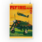 Flying Aces Magazine Cover (Art Posters, Wood & Metal Signs, Canvas, Tote Bag)