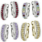 BodyJ4You 3 Pairs Small Earrings Hoops Half Circle Pave CZ Stainless Steel 12mm image