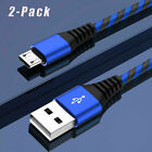 2-PACK 3FT 6FT 10FT Nylon Braided Micro USB Charger Cable for Samsung LG Android