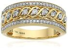 10K Yellow Gold Filled White Topaz Infinity Ring Wedding Women Jewelry Band Gift image