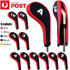 12Pcs/set Golf Clubs Iron Head Covers Headcovers with Zipper Long Neck