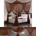 Coffee Four Corners Post Mosquito Net Curtain Bed Canopy Outdoor Indoor image