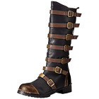Brown Mens Mid Calf Boots Goth Punk Steampunk Combat Multi Buckles Studs Accent