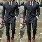 Men Charcoal Gray Double Breasted Suit Grooms Tuxedos Formal Wedding Suit Custom