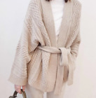 Women Loose Beige Cardigan Sweater Waist Belt Thicken Knitting Wool Blend Formal