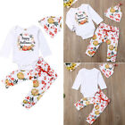 Infant Baby Boy Girl Happy Halloween Tops Romper Pants Hat Outfits Set Clothes