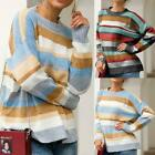 Women Colorful striped sweater Knitted Loose Jumper Top Knitwear Coat Fast