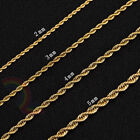 Women Men Stainless Steel Gold 2mm/3mm/4mm/5mm Rope Necklace Chain Link C11