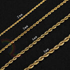 Women Men Stainless Steel Gold 2mm/3mm/4mm/5mm Rope Necklace Chain Link C11 image