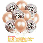 Rose Gold Happy Birthday Balloons Foil Number 16th 18th 21st Age Decorations
