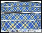 "3 yds 3/8"" or 5/8"" or 7/8"" or 1.5"" Bright Blue Yellow Plaid Grosgrain Ribbon"