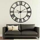 3D Vintage Metal Wall Clock Roman Numerals DIY Large Dial Non-Ticking Decor US