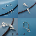 Solid Sterling Silver Smooth Pendant Bail Connector with Open Loop Choose Size