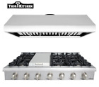 "Thor Kitchen 48"" Gas Range Cooktop+48"" Range Hood 6 Burner Griddle 900 CFM US photo"