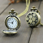Antique Vintage Bronze Glass Steampunk Pocket Watch Chain Necklace Pendant Gifts image