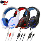 Gaming Headset Stereo 3.5mm Mic LED Headphones For PC PS4 Slim Pro Xbox One X S