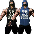 Men's Gym Muscle Fitness Workout Bodybuilding Print Sleeveless Hoodies Tank Tops